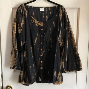 Women's XL Greater Good Black/Tan Tie Dye Tunic